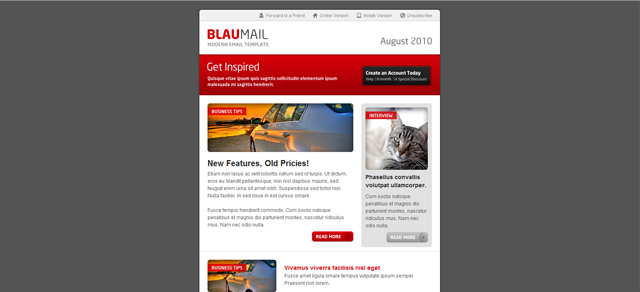 BlauMail Email Template 5 Colors 3 Layouts