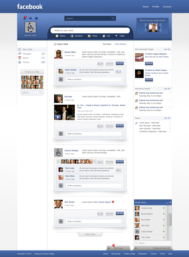 facebook redesign 10 different layout design