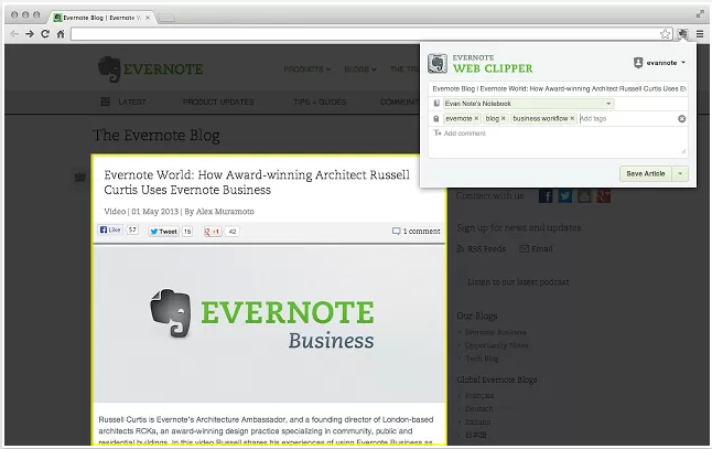 1. Evernote Web Clipper