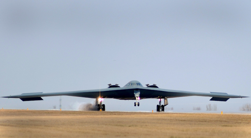WHITEMAN AIR FORCE BASE A B-2 Stealth bomber returns from a mission March 20, 2011. (U.S. Air Force photo by Senior Airman Kenny Holston)(Released)