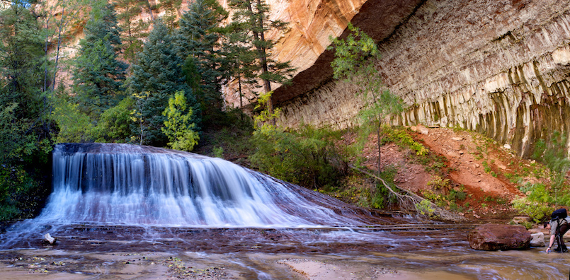 About 500 metres downstream from The Subway in Zion National Park, this waterfall of the North Creek is framed by an overhanging sandstone wall.  This panorama was created by stitching together 5 vertical shots using Hugin, and adjusting levels in Aperture.